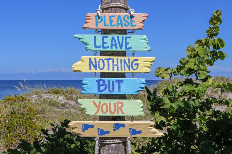 please leave nothing but your footprints, sustainability, beach