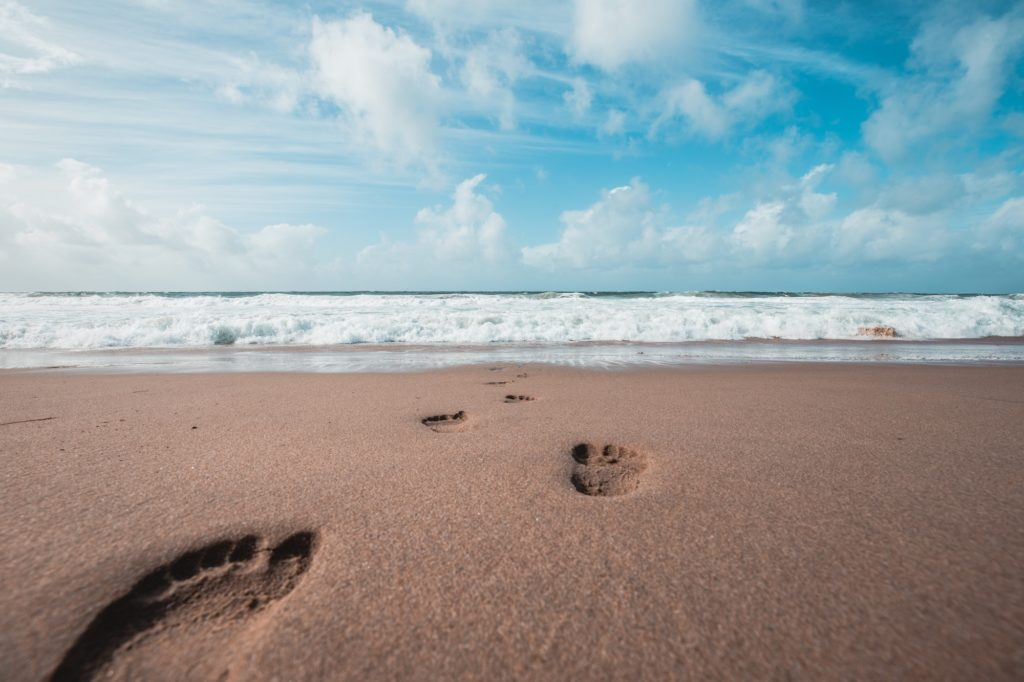 footprints, sand, beach