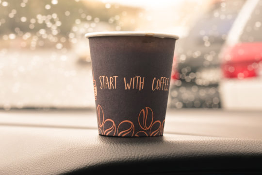 singe-use disposable coffee cup